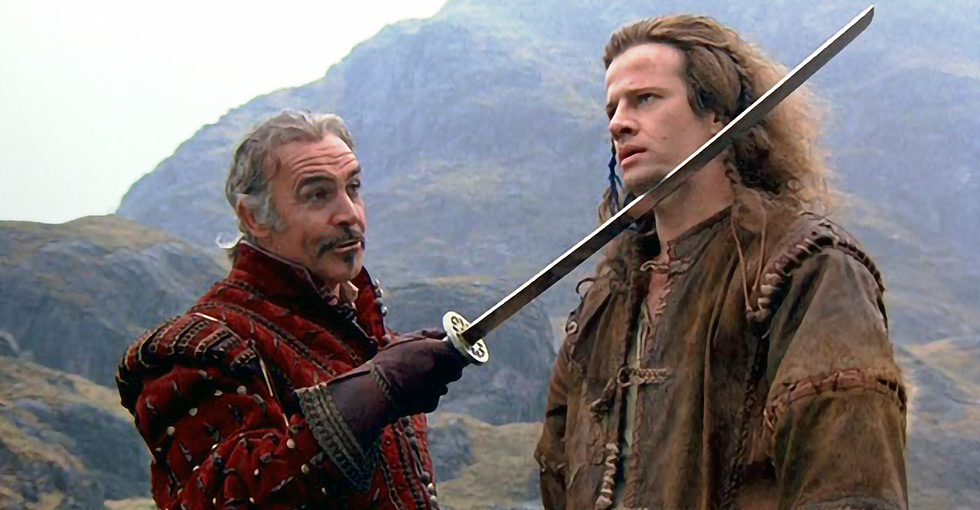 Sean Connery e Christopher Lambert em cena de Highlander